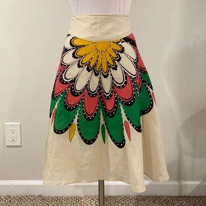 Ann Carson Linen Floral Sequin Skirt